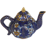 Pumpkin Shape Cobalt Blue Cloisonné Teapot