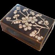 Cloisonné Cherry Blossoms Match Safe Brass Box