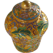 Gold Tone Cloisonné Miniature Chinese Ginger Jar