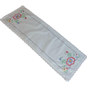 Small White Embroidered Table Runner 1940's