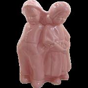 Pink Boy and Girl Figural Planter Vase