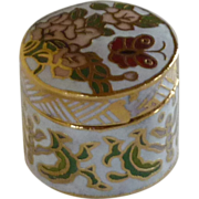 White Cloisonne Miniiture Keepsake Cylinder Box