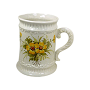 Hand Painted White Mug Vase by Inarco Italy