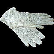 Unlined Ecru Fish Net Gloves 1950's