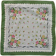 Pink, White & Yellow Rose Bouquets on White Handkerchief