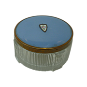 Guilloche Enamel Vanity Dresser Glass Powder Jar