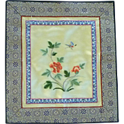 Beautiful Small Chinese Silk Embroidered Fabric Panel