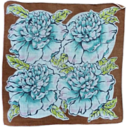 Beautiful Aqua Blue Flowers on Brown Cotton Handkerchief