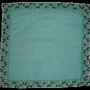 Aqua Blue Linen Handkerchief White Daisy Daisies