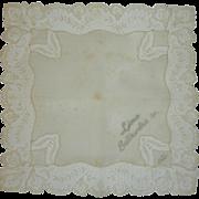 Ecru White Linen 1952 Wedding Handkerchief