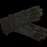 Classic Mid Century Kid Leather Black Gloves