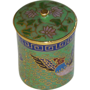 Miniature Asian Cloisonné Cylinder Box Container