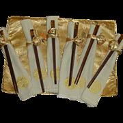 Set of Matching Place Mat, Napkin, Napkin Ring and Chop Sticks