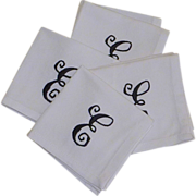 White Linen E Initial Cocktail Napkin Set