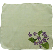 Green with Hand Painted Violets Handkerchief Hanky