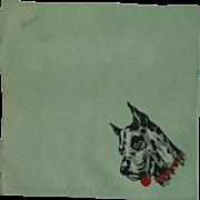 Great Dane Print on Green Handkerchief Hanky
