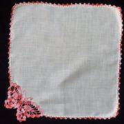 SOLD Crochet Butterfly on White Linen Handkerchief
