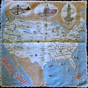 USA United States Map Handkerchief Hanky