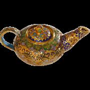 Gold Tone Cloisonné Miniature Chinese Teapot
