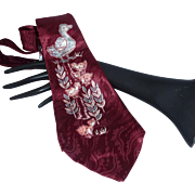Vintage 1940's Silk Maroon Tie with Ducks