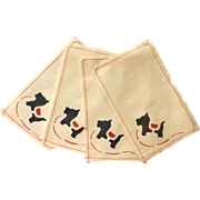 4 Scotty Dog Cloth Cocktail  Beverage Napkins