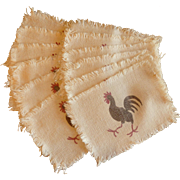 12 Rooster Beige Cloth Cocktail  Beverage Napkins