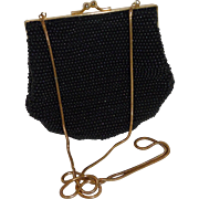 Carla Marchi Black Seed Bead Shell Shoulder Chain Strap