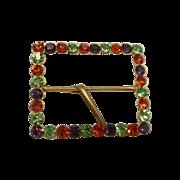1970's Gold Tone Colorful Rhinestone Scarf / Belt Buckle