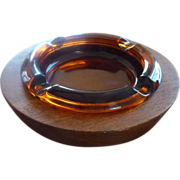 Large Glass Ashtray in Round Wooden Walnut Holder