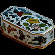 Cloisonné Rectangular Asian Brass Enamel Small Box