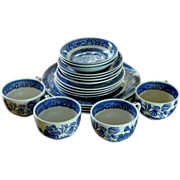 4 Piece Blue Willow Homer Loughlin Set of Dishes