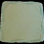 Green Linen Handkerchief with Variegated Green Tatting