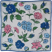 Bold Blue and Pink Flowers on White Background Handkerchief Hanky