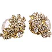 SALE Miriam Haskell Signed Earrings Faux Pearl Rhinestone Vintage Designer Costume Jewelry