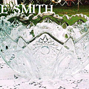 Crystal Bowl Heritage L E Smith Large Vintage Signed Elegant Glass