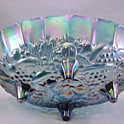 Carnival Glass Bowl Indiana Iridescent Blue Harvest (Grape & Leaf) 1970s Vintage