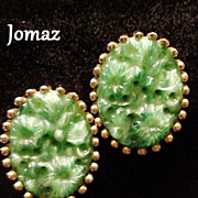 SALE Jomaz Earrings Molded Glass Jade Green Signed Designer Vintage Circa 1949