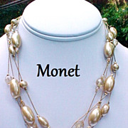 SALE Vintage Monet Necklace Oblong Simulated Pearls Crystal Four Strand Signed