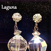SALE Laguna Earrings Dangle or Drop Crystal Aurora Borealis Vintage Pre-1955
