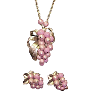 SALE Parklane Necklace Earrings Brooch Parure Mauve Pink Signed Vintage Designer