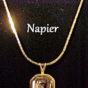 Necklace Napier Rhinestone Pendant Signed Vintage Designer Jewelry