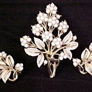 SALE Coro Brooch Earrings 1940s Milk Glass Enamel Designer Signed Vintage