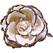 SALE Vendome Brooch Flower Enamel Faux Pearl Signed Vintage pre 1955