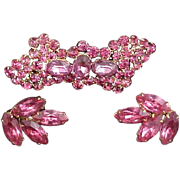 SALE Czech Brooch & Earrings Set Sparkling Pink Crystals Signed Early 1900s