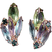 SALE 1960s Earrings Blue Green Rhinestone Vintage Jewelry