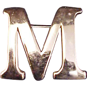 "Anne Klein Initial Brooch ""M"" Vintage 1970s Signed Designer Jewelry"