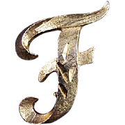 "Mamselle Initial Brooch ""F"" Vintage 1970s Signed Designer Pin Jewelry  (Smaller Size"