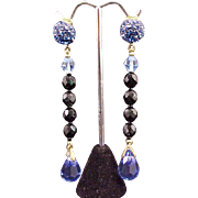 SALE Earrings Briolette Prism Crystal Drop Dangle Cobalt Blue Glass Vintage