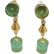Earrings Translucent Green Acrylic Art Deco Dangle Drop Vintage 1950s Jewelry
