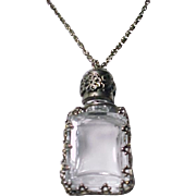 Glass and Silver Perfume Bottle Pendant Necklace Vintage